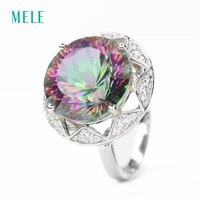 natural rainbow mystic quarts ring round 13mm13mm silver ring lady wedding and anniversarythe best gift for lady