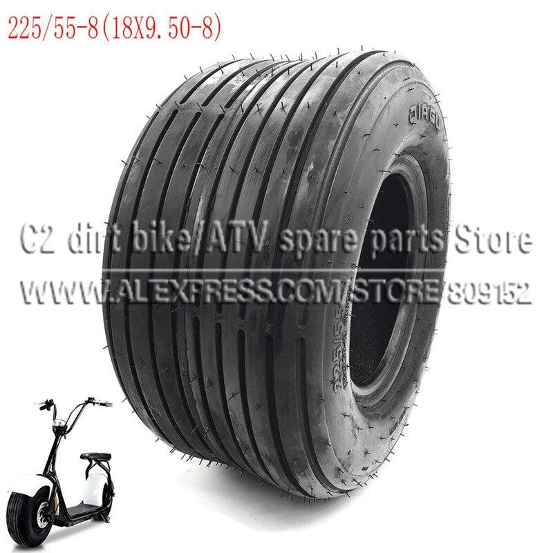 Pneu 225/55-8 18x9. pneus de vácuo 50-8 frontal ou traseiro 8 polegadas 4pr scooter elétrico para harley chinês bike