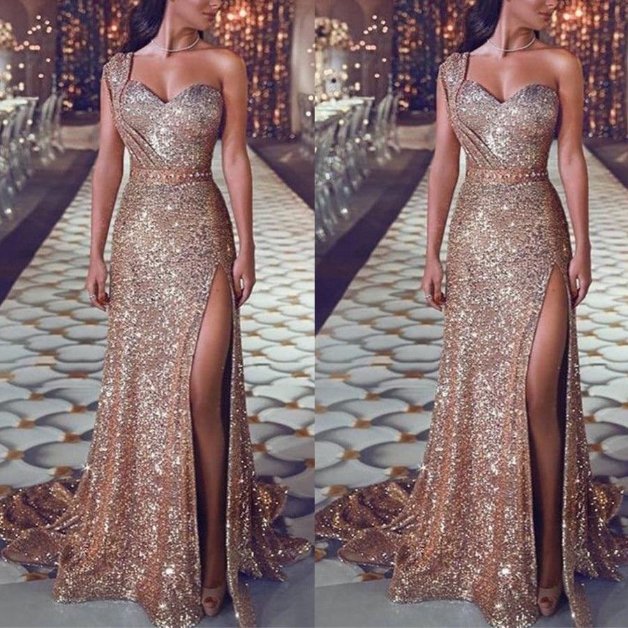 Gran oferta 2019 de vestidos de mujer, vestidos largos rosas dorados sin respaldo espagueti, vestidos de gasa con lentejuelas, ropa barata