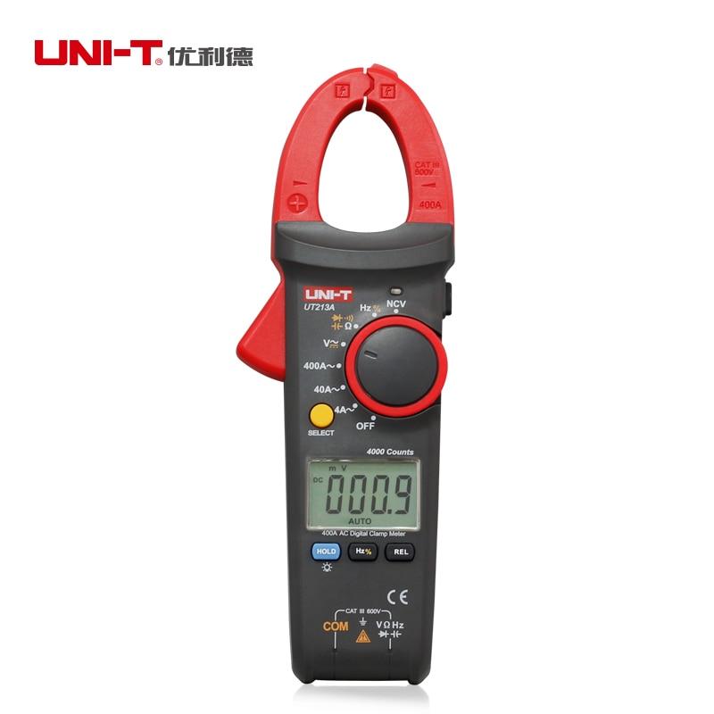 UNI-T 400A المشبك متر UT213 سلسلة المقاومة السعة TRMS التيار المتناوب تيار مستمر الجهد الحالي جهاز قياس درجة الحرارة NCV مصباح يدوي