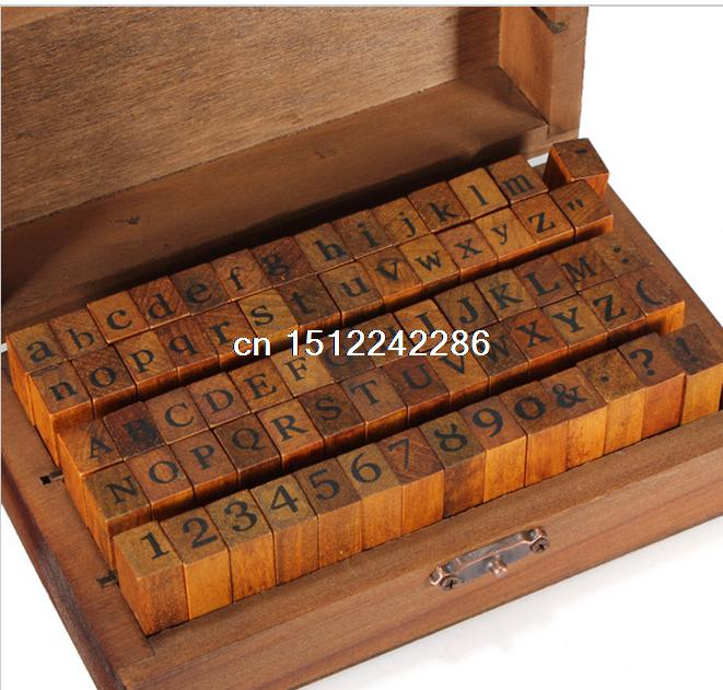 70 stks/set Vintage DIY Multifunctionele Regelmatige Script Aantal Kleine Letters Brief Decoratie Houten Stempels Set Houten Doos