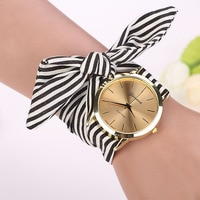 Fashion Women Ladies Watches Bow design Stripe Floral Cloth Quartz Bracelet Wristwatch  bayan kol saati relogio feminino saat C