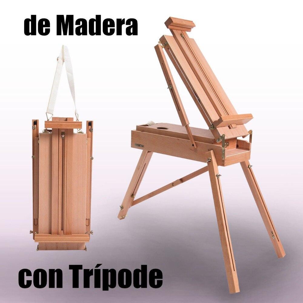 (Envío desde la UE) caballete de trípode plegable de madera portátil artista francés caballete plegable