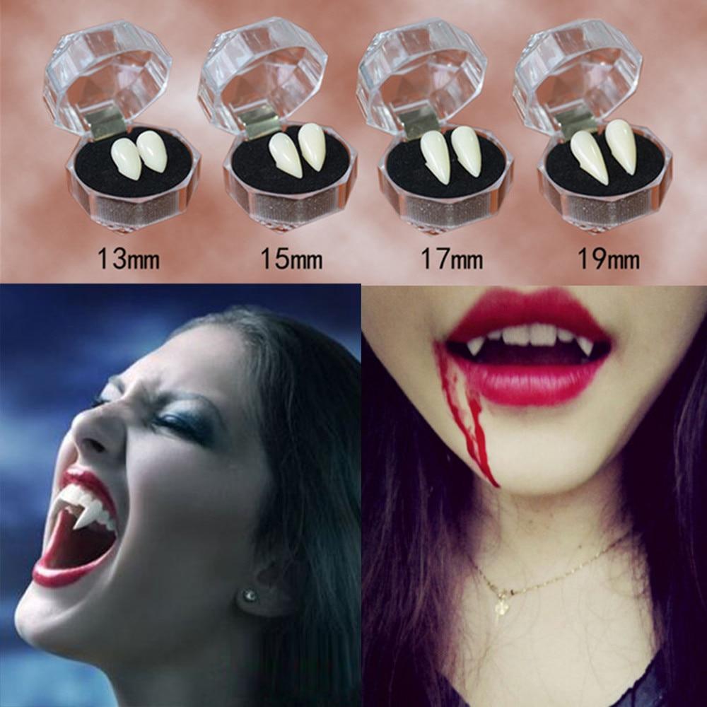 Dentes de vampiro dia das bruxas 13/15/17/19mm vampiro diy presas dentaduras adereços traje de halloween adereços cosplay festa festival a20