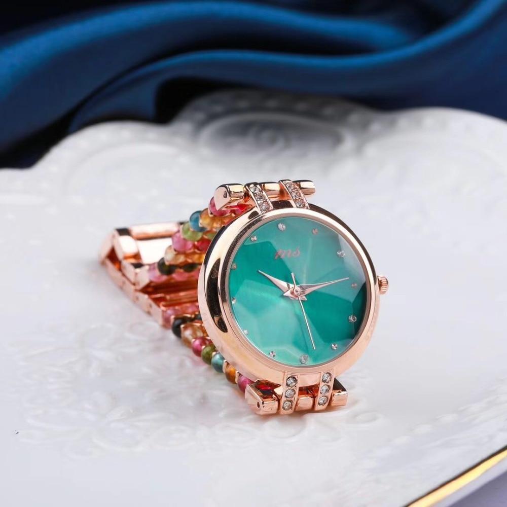 سوار من حجر التورمالين الطبيعي ، ساعة مجوهرات نسائية 33 مللي متر ، مقاومة للماء ، للشاطئ الصيفي ، بالجملة!