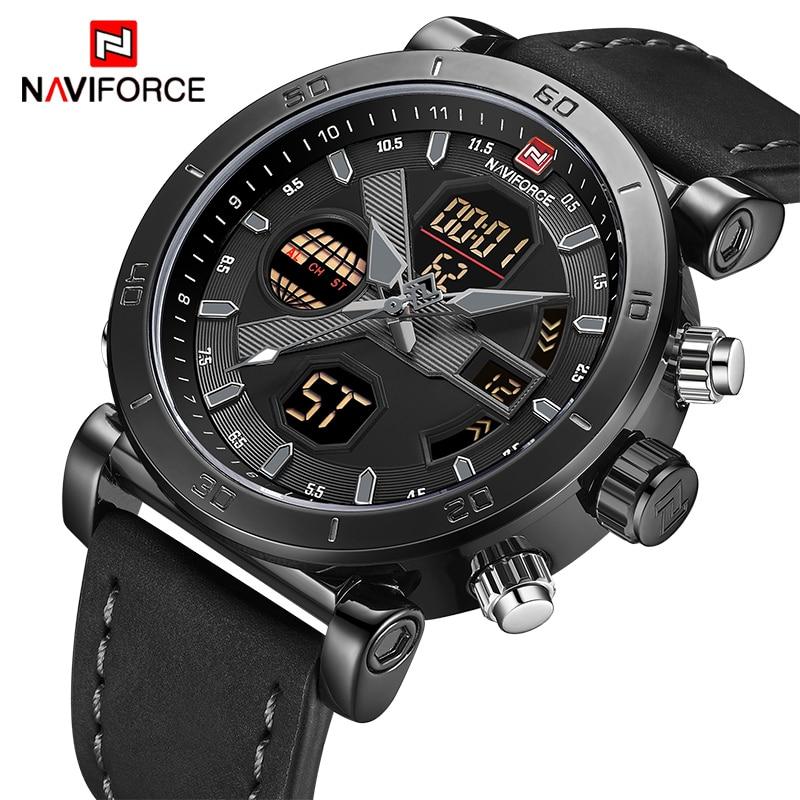 Часы NAVIFORCE, спортивные, водонепроницаемые, армейские, аналоговые, кварцевые, с кожаным ремешком