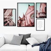 Toile dart murale de paysage déglise rose   Peinture daffiches et dimprimés nordiques, images murales pour salon, décor mural