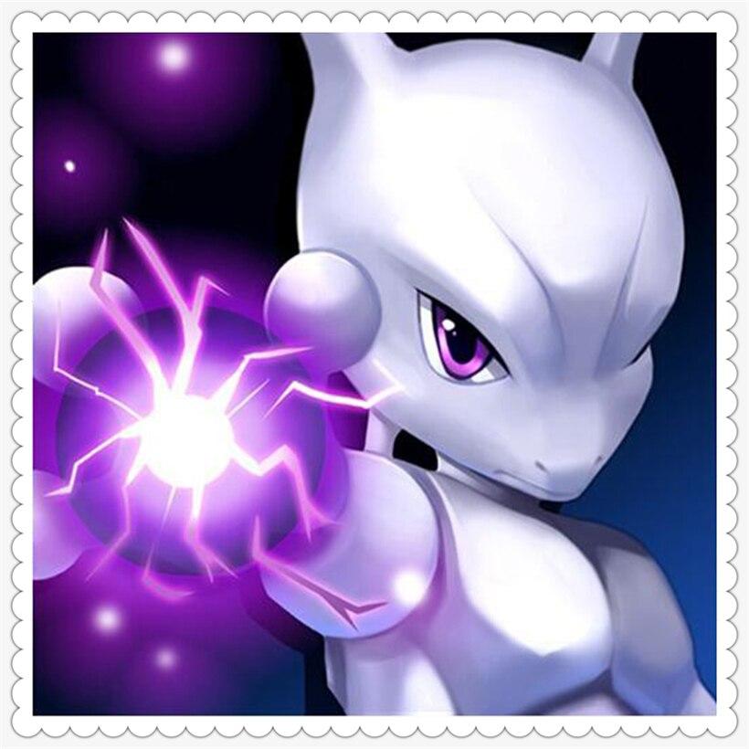 Bordado de diamantes, Newtwo, pokemon, pokedex, 5D, pintura de diamantes, punto de cruz de personaje de dibujos animados, 3D, mosaico de diamantes, decoración YF313