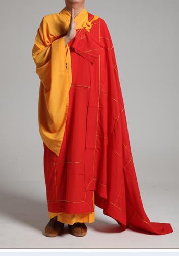 Unisex Rojo siete pececillos budistas monje robesgown uniformes abbot cassocks kung fu artes marciales trajes meditación ropa de cama