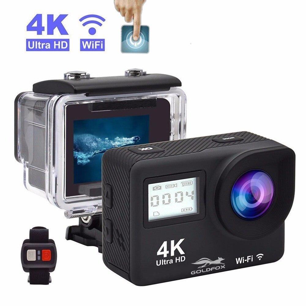 4 k wifi câmera de ação 2 polegada tela sensível ao toque hd 1080 p à prova dv esportes dv gravação vídeo controle remoto dupla câmera esporte sceen