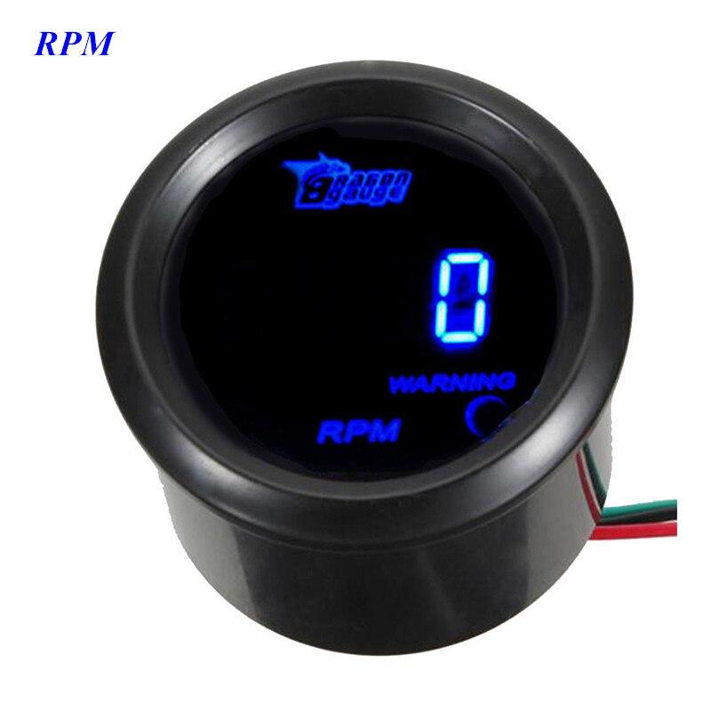 "EE support 2"" 52mm Black Cover Car Auto Digital Clock Blue LED Tacho Gauge Auto Tachometer  R.P.M"