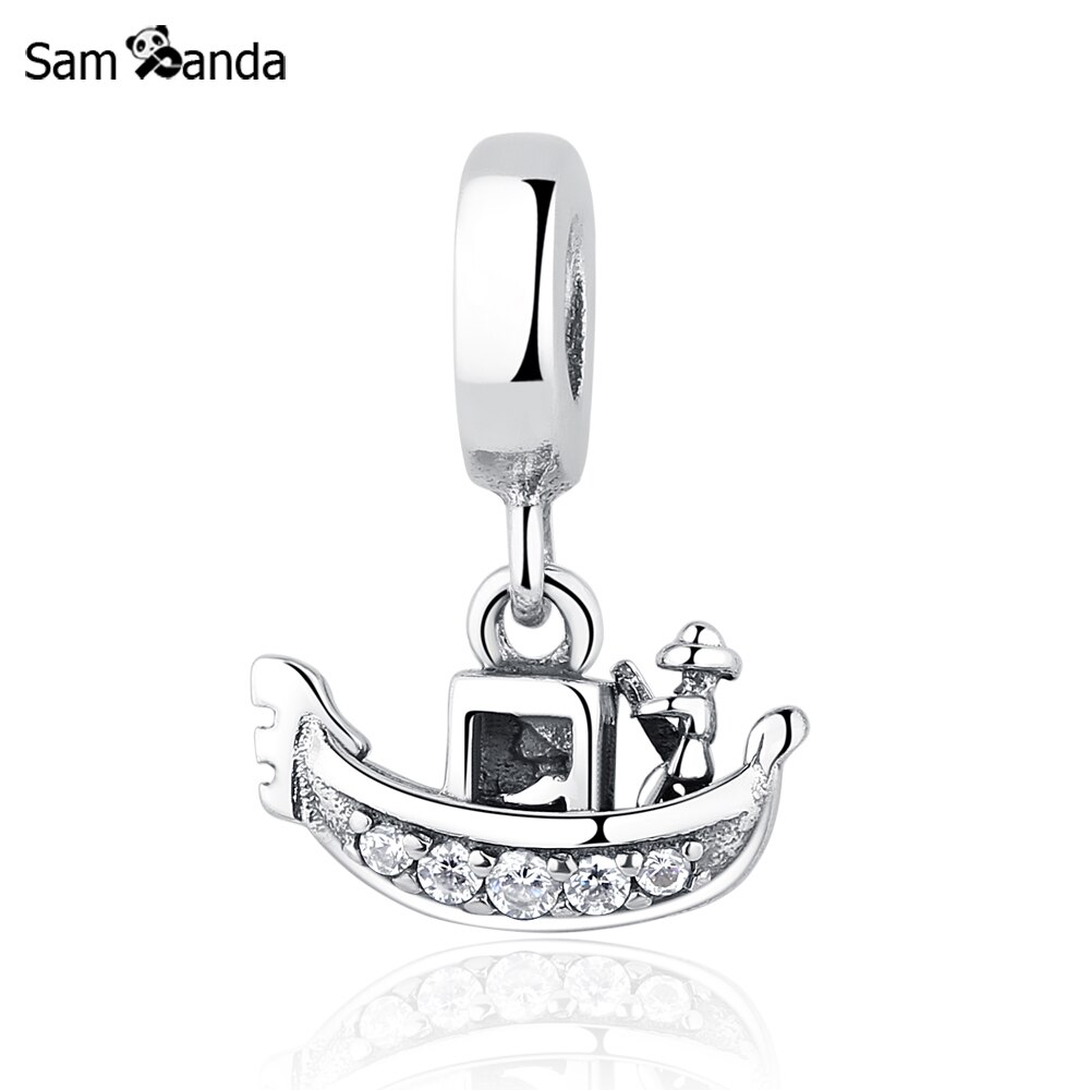 Authentieke 925 Sterling Zilver Bedels Boot Venetië Gondola Charm Clear Cz Hanger Bead Fit Pandora Armbanden & Bangles Diy Sieraden