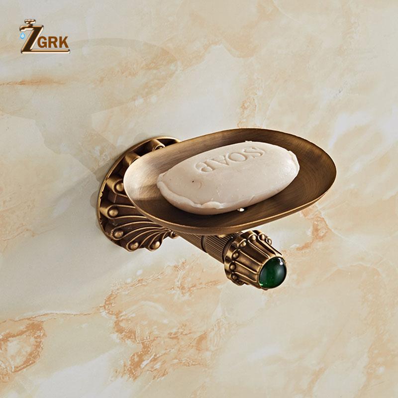 ZGRK متفوقة النحاس صحن الصابون اكسسوارات الحمام الحائط صندوق الصابون عالية الجودة النحاس أنودة سطح حامل الصابون