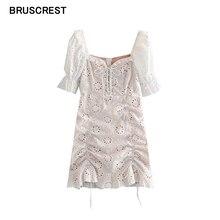 Weiß floral embroiderey spitze kleid vintage kurze puff sleeve square neck taste mini kleid strand chic kleider damen Sommer