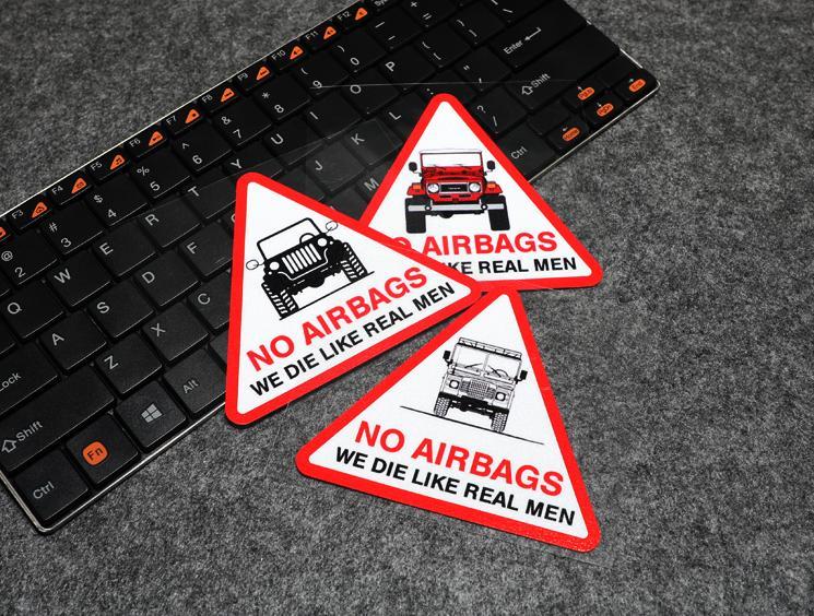No Airbags morir como hombre de verdad Wrangler triángulo pegatinas divertido reflectante parabrisas de coche pegatinas para jeep CJ7 TJ YJ JK JL