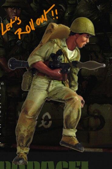 Kit de figuras de resina soldado VN con RPG a escala 1/35