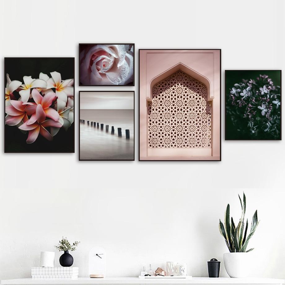 Lily Flower East Gate River Bridge cuadro sobre lienzo para pared nórdico abstracto pósteres e impresiones cuadros de pared para sala de estar