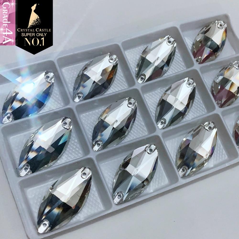 Cristal Castillo coser en vidrio 4A 3223 Navette cristal transparente AB piedra para coser ojos de caballo piedras preciosas diamantes de imitación para ropa