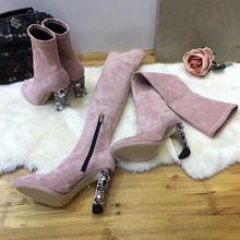 Nouvelle mode cristal talon sur les bottes au genou femmes Stretch daim bottes bout rond 3cm talon bottes 10cm dames chaussette bottes