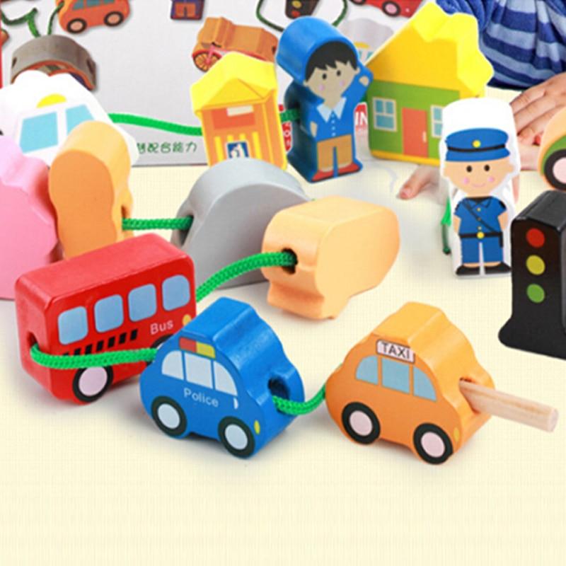 Wooden Toys Cartoon Animals Animal Fram Car Block Stringing Threading Beads Game Education Toy for Baby Boy Girl Kids Children