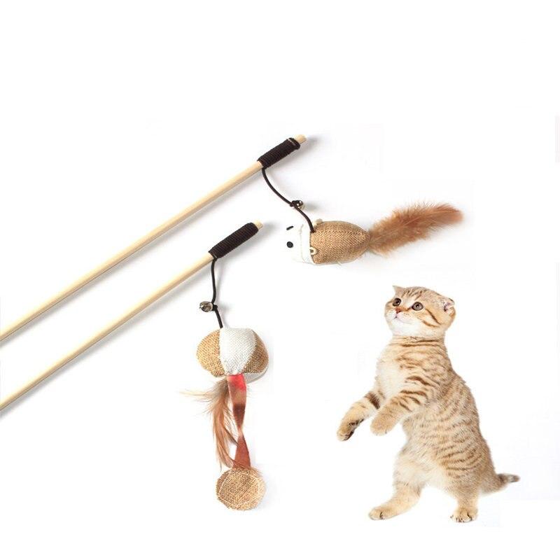Juguete divertido de Gato, juguete de peluche con plumas de pájaro para gatos, juguete de atrapasueños, juguete de campana con plumas, suministros para mascotas, juguetes interactivos para gato