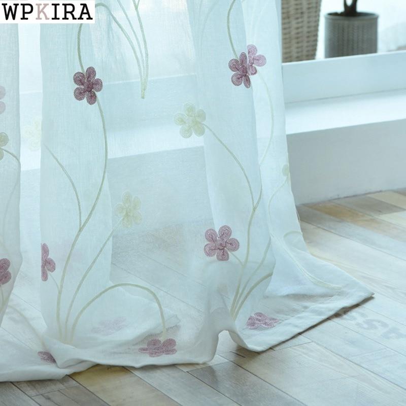 Cortinas azuis rosa bordados voile moderno, janela, sala de estar, cortina de tule pura, rideaux cortinas zh009 & 30