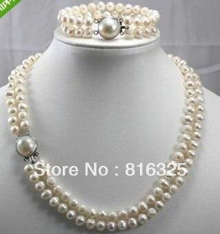 "SHIPPING2 LIBRE Fila Pulsera Del Collar de perlas Cultivadas 7-8 MM 17 ""(A0423)"