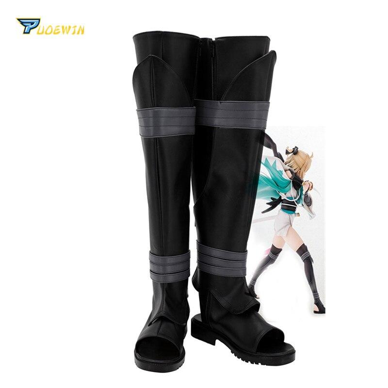 Fate Grand Order Saber Okita Souji Cosplay Shoes Black Boots Custom Made
