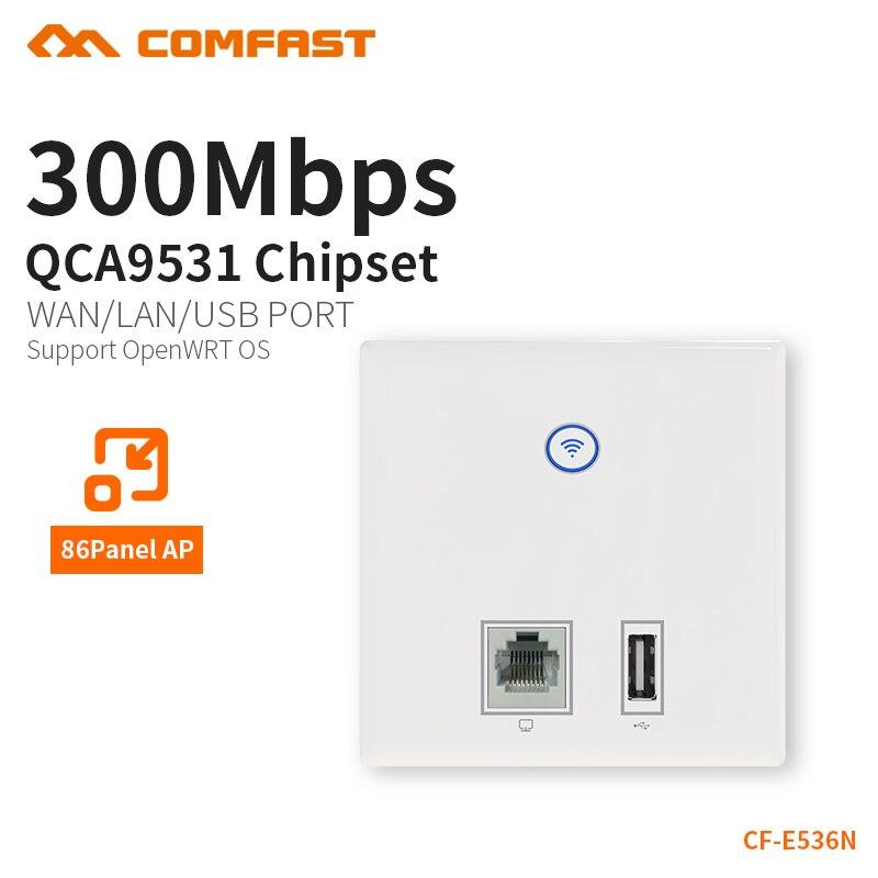 COMFAST pared Embedded ap 300mbps punto de acceso wifi 48V alimentador poe suministro para hotel AP RJ45 usb cargador puerto dual 3dBi CF-E536N