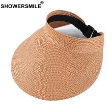 SHOWERSMILE Women Visor Hat Orange Spring Summer Ladies Sun Hat  Uv Protection Female Adjustable 2020 Straw Running Visor Hat