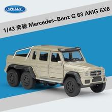 WELLY 1:43, modelo clásico de alta simulación, juguete Benz AMG 6X6, camioneta de metal, coche de aleación, clásico, Tire hacia atrás, regalos de colección