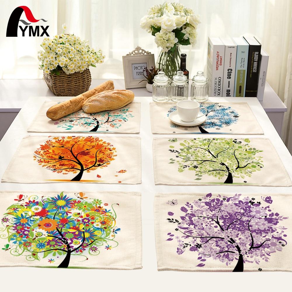 42X32CM servilletas de mesa mezcla 10 estilos hermosas imágenes de Happy Tree mesa de cena servilletas té y café toalla Mesa decoración juego de té