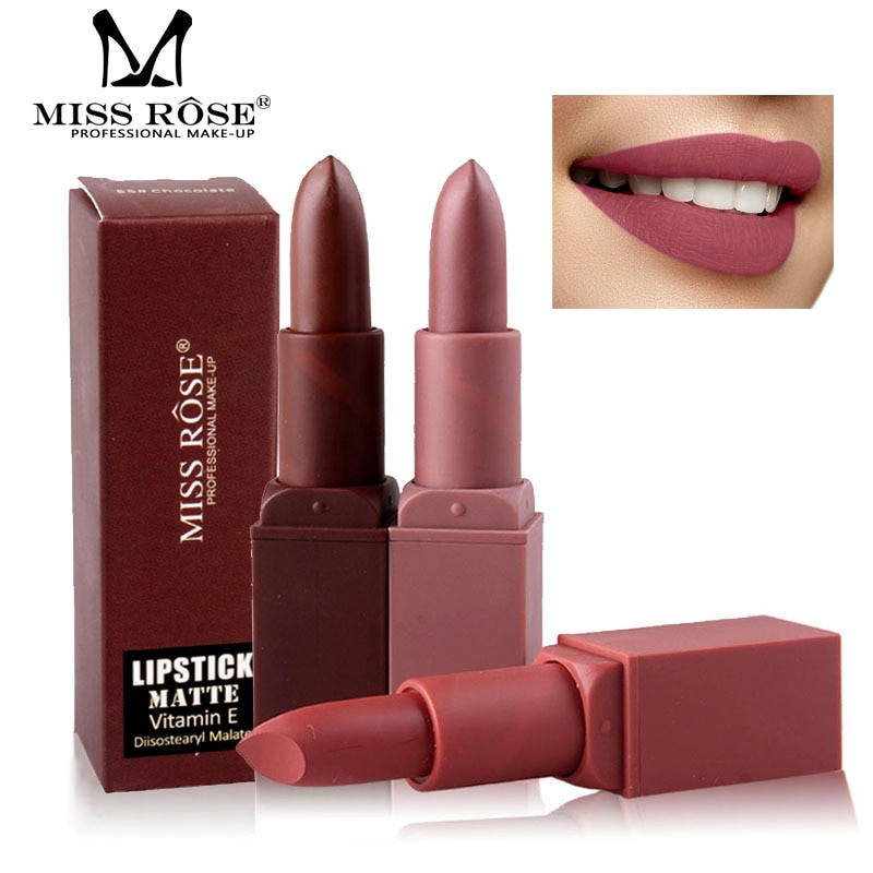 Nuevo maquillaje hidratante MISS ROSE, lápiz labial impermeable, lápiz labial Sexy Nude, nutritivo pigmentos de larga duración, lápiz labial mate de terciopelo