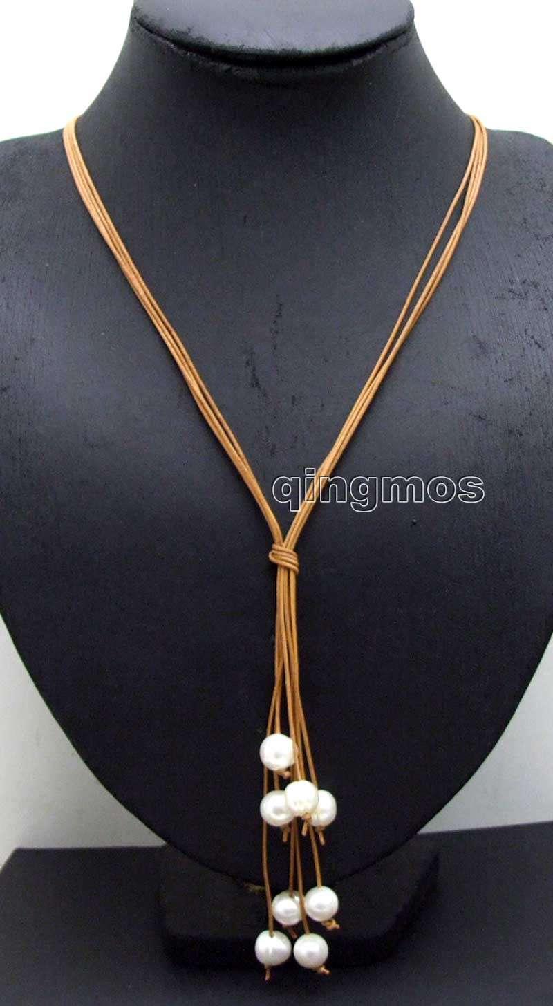 """Grande 10-11mm blanco patata Natural FW perla y cuero marrón 4 hebras 32 """"largo Necklace-nec6146 al por mayor/al por menor envío gratis"""