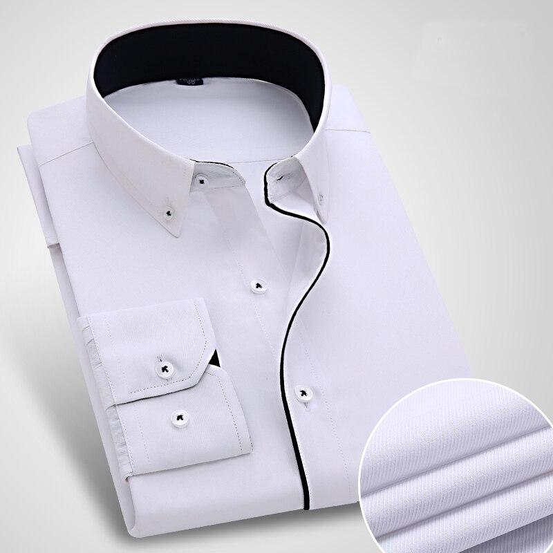 Recién llegado, camisa de vestir a rayas para hombre, camisas formales de corte Slim Fit para negocios sociales, camisas clásicas de manga larga sin hierro, sin bolsillos
