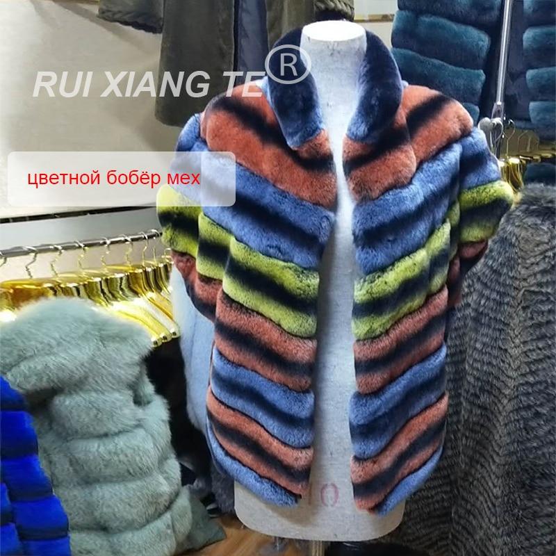 Manteau de fourrure réelle colorée pour femme   Livraison gratuite, gilet populaire en fourrure de lapin rex, gilet chaud et populaire pour chinchilla