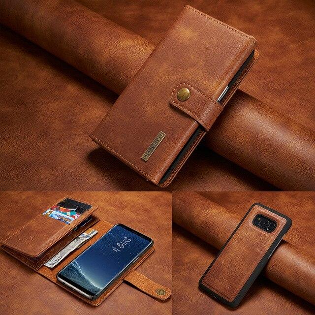 Для Samsung S8 S9 S10 S7 edge S10e чехол с откидной крышкой двойной складной кошелек Магнитный чехол для Samsung Note 8 9 10 Plus ретро кожаный чехол