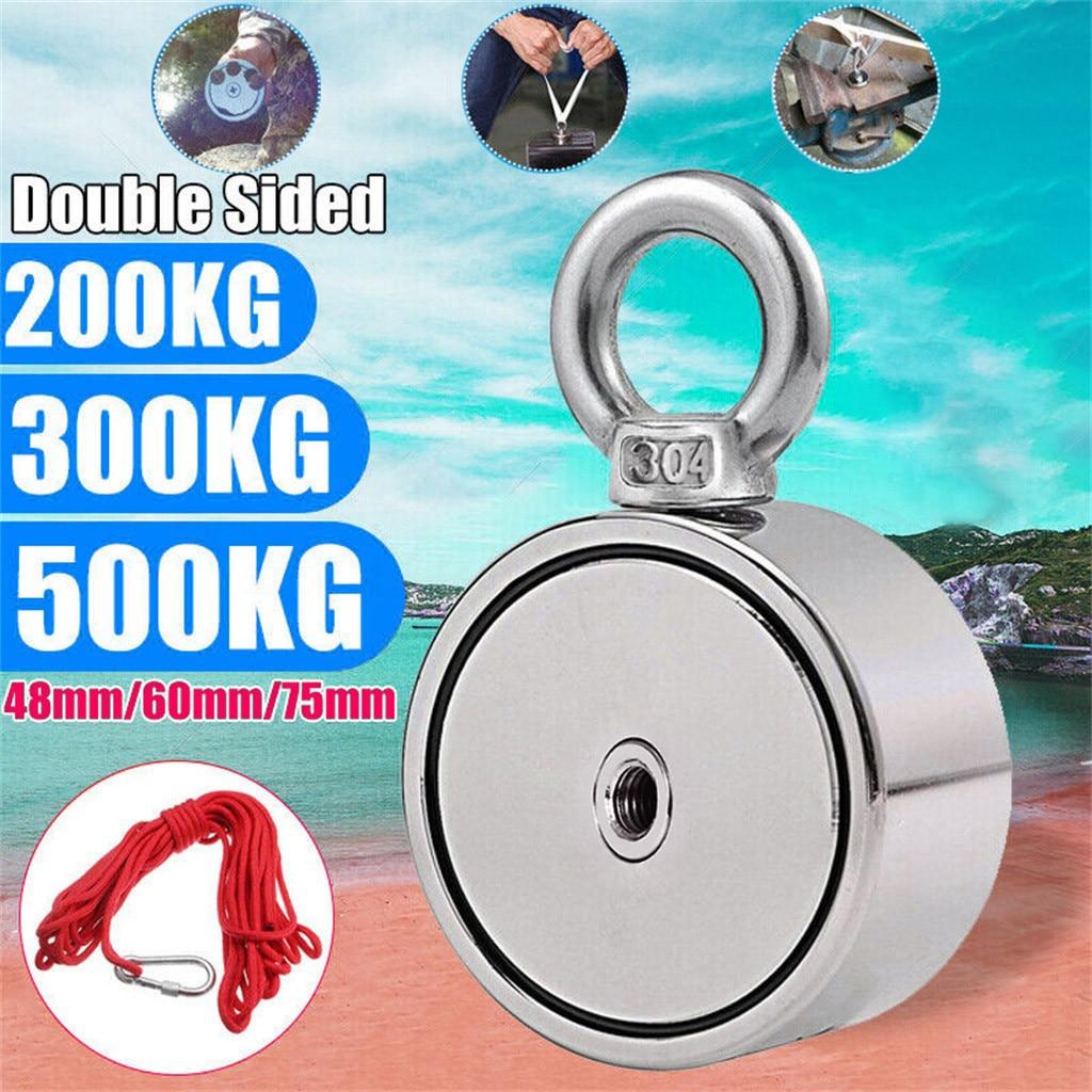 Dupla face neodímio pesca ímãs forte 200/300/500 kg dupla face neodímio metal ímã detector kit de pesca + 10 m corda