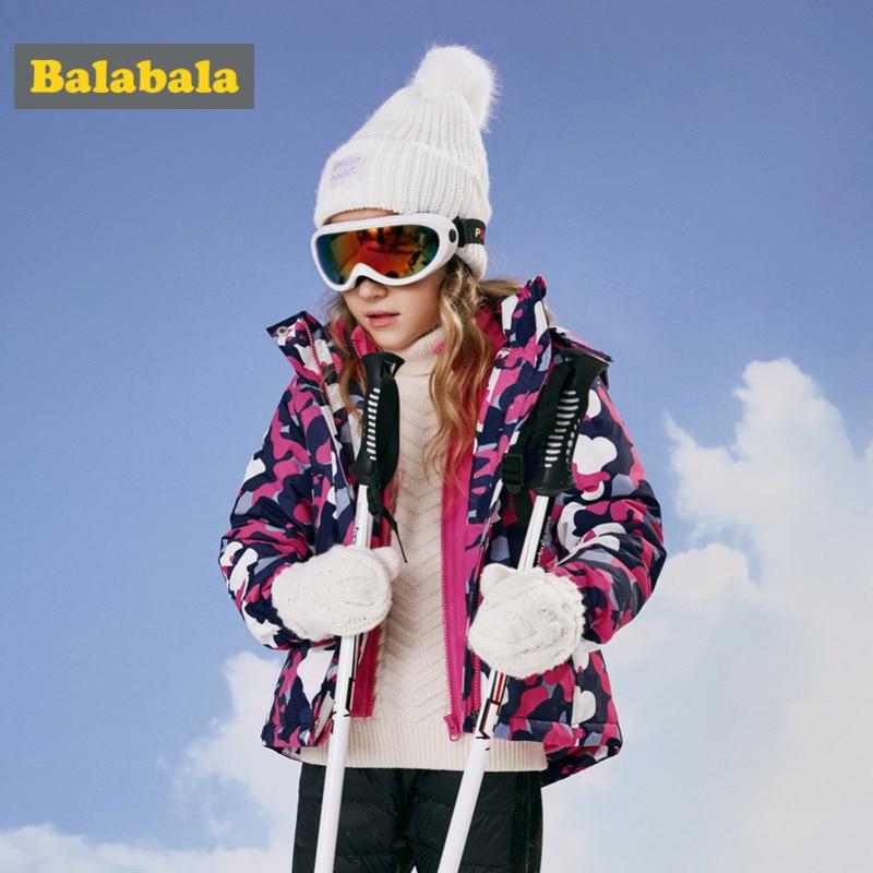 Chaqueta al aire libre de chica Balabala 2 en 1 con forro polar desmontable chaqueta de cuello levantado chaqueta con capucha con estampado de niña adolescente cazadora