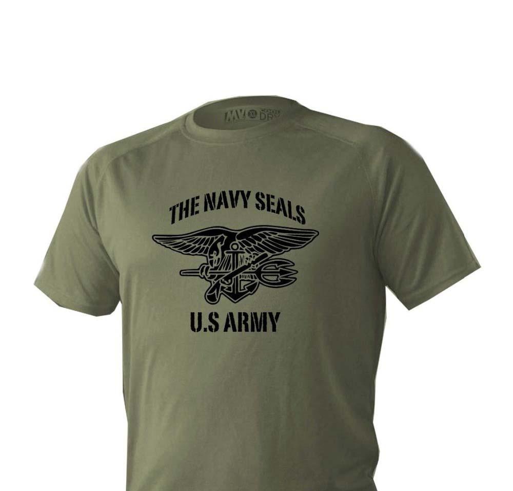 2019 camiseta caliente de moda para hombres de manga corta verde oliva Us ejército militar marina de EE. UU. Camiseta Seals