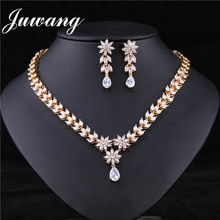 JUWANG Gold Dubai Jewelry Sets Parure Bijoux Femme Mariage Elegant African Jewelry Set Women Valentine Gifts 925
