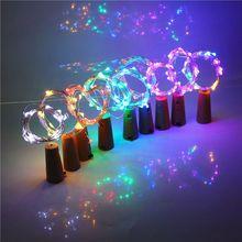 2M 20 LED Wine Bottle String Lights Cork Shaped Glass Stopper Lamp Christmas DIY Flashing Festival Party Decor 8 Colors
