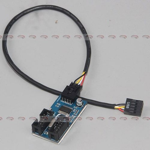 Placa base de 9 pines conector USB macho 1 a 2 Cable prolongador hembra 9 P puerto USB 2,0 9 pines 30 cm/1 ft