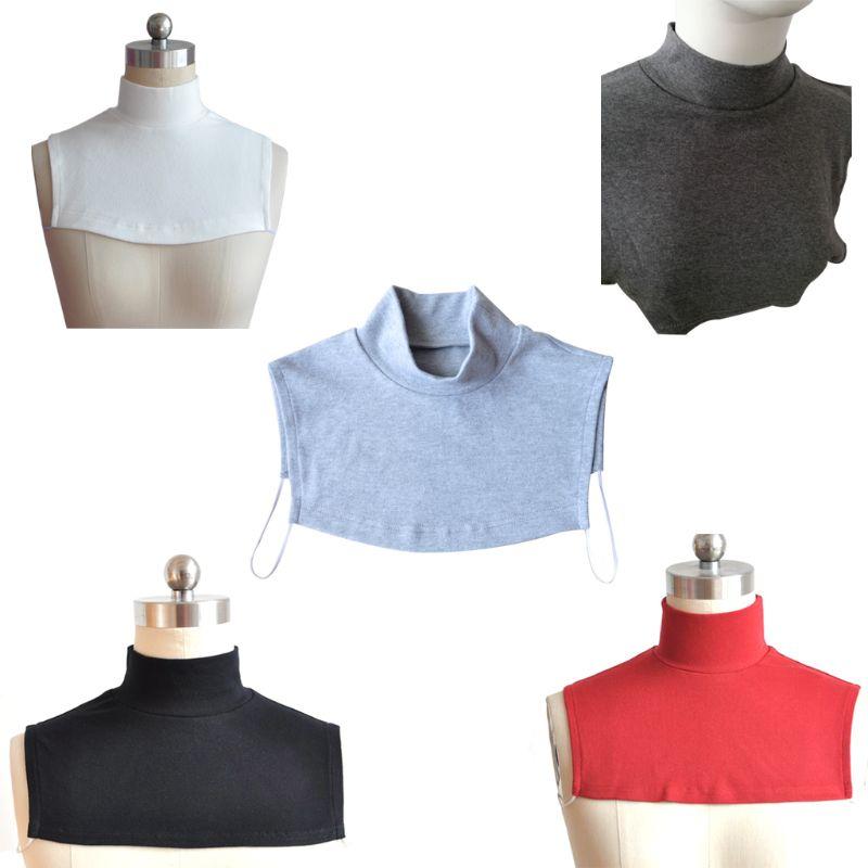Hombres y Mujeres tejer falso Collar islámico Hijab extensiones de cuello pecho contraportada Modal bufanda Medio musulmán Collar de moda sólido C