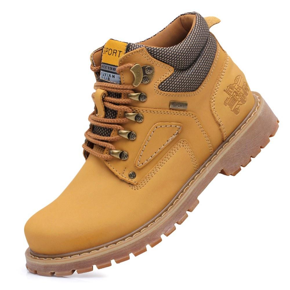 Vintage Autumn Winter Mens Non-slip Walking Shoes Genuine Leather Fur Cowhide Outdoor Sport Tourism Trekking Sneakers Size 38-47