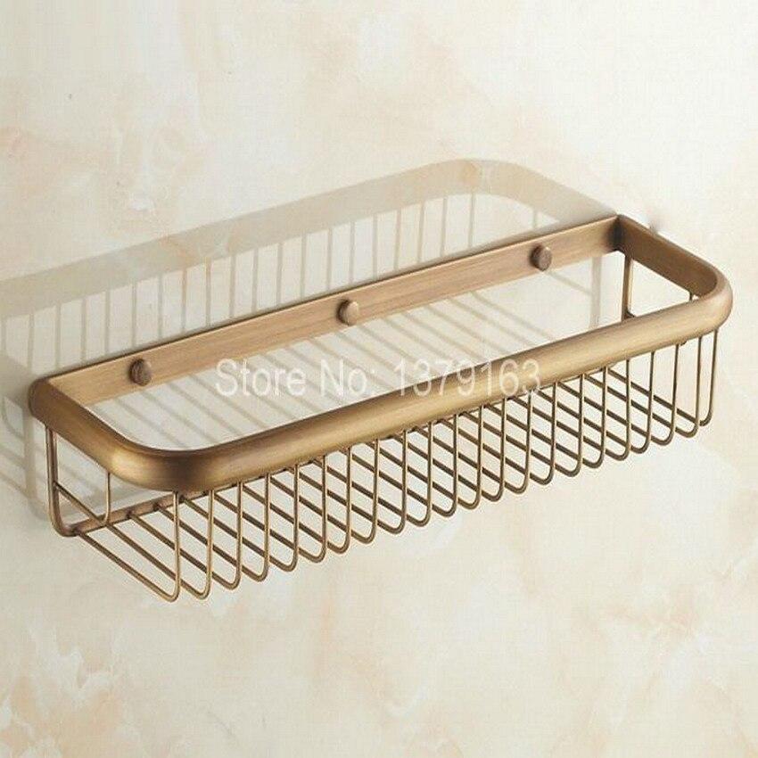 إكسسوارات حمام نحاسية عتيقة عتيقة للتعليق على الحائط من طبقة واحدة/سلة تخزين دش الزاوية الإسفنجية aba083