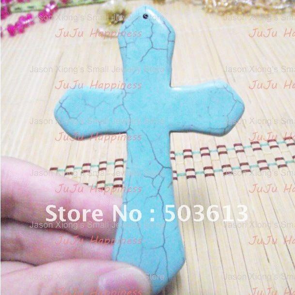 10 teile/los Blau Howlith Big stein Kreuz Anhänger, Kreuz Anhänger p22