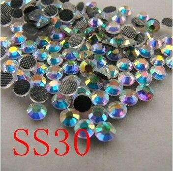 SS30 288 unids/bolsa de Cristal AB DMC hotfix espalda plana Rhinestones, Hot Fix glitters planchado zapatos de ropa de piedra de cristal