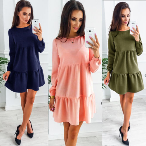 Solid Fashion Women Ladies Summer Long Sleeve Dresses Casual Party Evening Mini Dress Pink Navy Blue Army Green