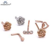 1Pc Or Rose hotsale bodyjewelry 0.8x7mm nez anneau Corps Bijoux Strass Petit Coeur nosering Piercing